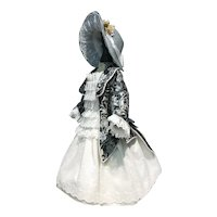 Steel blue and white couture dress and bonnet for French doll