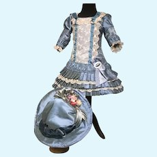 Beautiful blue French style dress and hat for large doll