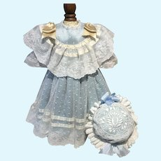 Light blue silk and lace dress and hat