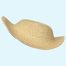"""Martha  8-9"""" - Huret style handmade straw hat ready for you to decorate"""