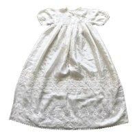 Beautiful embroidered ivory silk christening robe