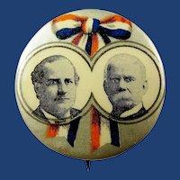 """Bryan & Stevenson Democratic Presidential Campaign Jugate Pinback Button 1900 1-1/4"""""""