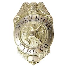 Westmont (Haddon Township) New Jersey Fire Company No. 1 Early Members Badge ca. 1910-20