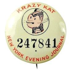 "Krazy Kat Comic Strip Cartoon Character New York Evening Journal Contest Pinback Button 1930's 1-1/4"""