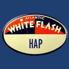 "Atlantic White Flash Gasoline Gas Station Employee Attendant ID Badge ""Hap"" 1930's-40's"