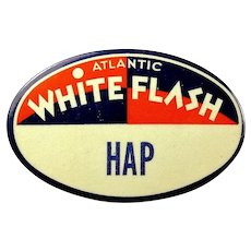 "Atlantic White Flash Gasoline Gas Station Employee Attendant ID Badge ""Hap"" 1930's-40's"