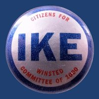 """1952 Citizens For Ike Winsted (Conn.) Committee of 1000 Republican Presidential Campaign Pinback Button 1-1/4"""""""