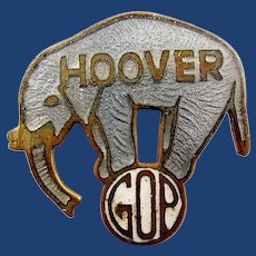 1928 Classic (Herbert) Hoover G.O.P. Republican Enamel Elephant Political Presidential Campaign Pinback Pin