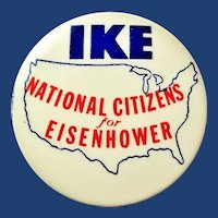 1952 Ike National Citizens For Eisenhower Republican Presidential Campaign Pinback Button