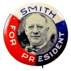 1928 Al Smith Scarce Red, White, & Blue Smiling Al Democratic Presidential Campaign Pinback Button