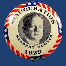 1929 Herbert Hoover Inauguration Presidential Pinback Button 1-1/4""
