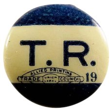 1912 T.R. Teddy Roosevelt Bull Moose Progressive Party Presidential Campaign Lapel Stud Pin