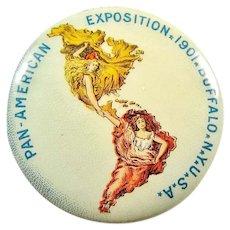 1901 Pan American Exposition Buffalo NY Official Button Advertising Pinback Button