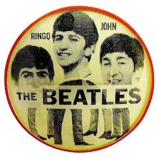 Original 1964 The Beatles Rare Red & Light Yellow Vari-Vue Flasher Lenticular Pinback Button