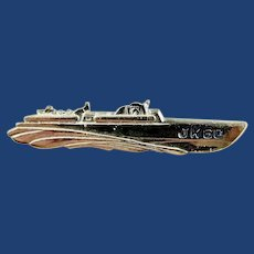 1960 Democratic Presidential Campaign Kennedy For President Figural Metal PT Boat JK60 Handout Lapel Pin