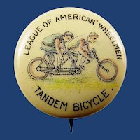 1896-1900 League of American Wheelmen (LAW) Tandem Bicycle Pinback Button