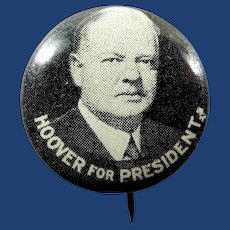 1932 Hoover For President Lithographed Pinback Button Green Duck Co.