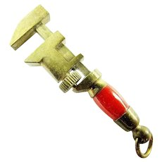 Miniature Brass & Bakelite Handled Pipe Wrench Tool Watch Fob Pendant Charm Works ca. 1930's-40's