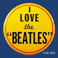 "1964-65 I Love the ""Beatles"" Rare Yellow Background Souvenir Pinback Button 3-1/2"""