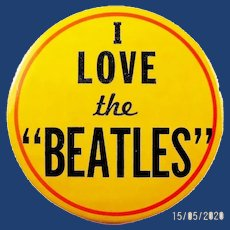 "1964-65 I Love the ""Beatles"" Rare Yellow Background Souvenir Pinback Button 3-1/2"""