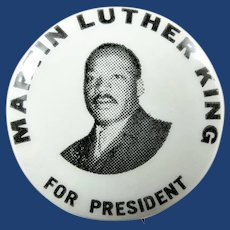 1968 Martin Luther King For President Hopeful Presidential Campaign Pinback Button scarce