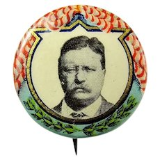 "1912 Teddy Roosevelt Progressive Party ""Bull Moose"" Presidential Campaign Pinback Button Excellent Condition"