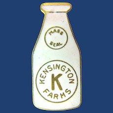 Kensington Farms Dairy (Connecticut) Miniature Milk Bottle Advertising Enamel Lapel Pin ca. 1920's-1930's
