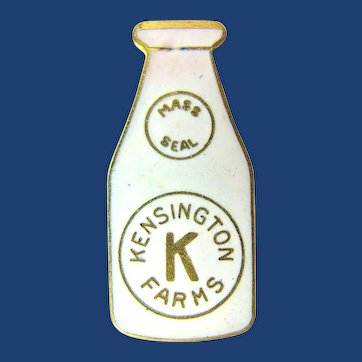 Kensington Farms Dairy (Connecticut) Miniature Milk Bottle Advertising Enamel Lapel Pin ca. 1920's-1930's