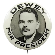 "1944 (Thomas E.) Dewey For President Republican Presidential Campaign Pinback Button 1-1/4"" scarce"