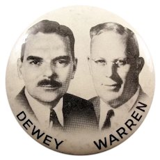 1948 Dewey & Warren Jugate Republican Presidential Political Campaign Pinback Button 3-1/2""