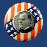 ca.1900 William McKinley Patriotic Stars & Bars Republican Presidential Campaign Pinback Button