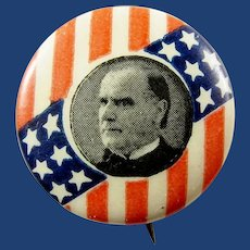 ca.1900 William McKinley Patriotic Stars & Bars Republican Presidential Campaign Pinback Button