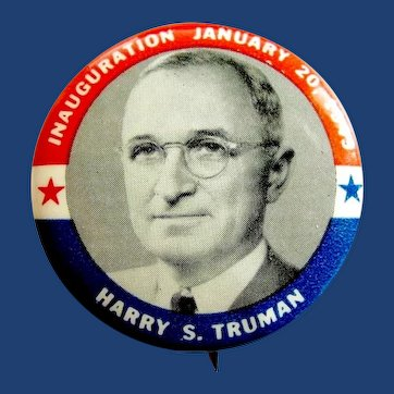 1949 Harry S. Truman Inaugural Democratic Presidential Pinback Button 1-3/4""