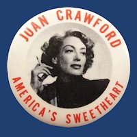 1950's Movie Actress Joan Crawford America's Sweetheart Promotional Pinback Button