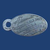 Lindbergh Spirit of St. Louis Airplane Keychain ID Tag ca. 1927