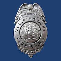 Pompton Falls Volunteer Fire Dept. Pompton, NJ Members Badge ca. 1940's