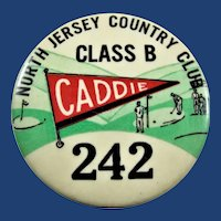 North Jersey Country Club Class B Caddie Badge #242 ca. 1940's