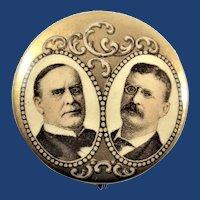 "1900 McKinley & Roosevelt Jugate Political Campaign Pinback Button 1-1/4"""