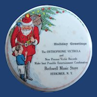 Santa Claus Orthophonic Victrola and New Process Victor Records Advertising Record Cleaner Herkimer, N.Y. 1920's