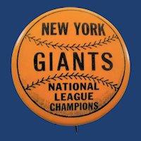 1954 New York Giants Baseball National League Champions World Series Pinback Button