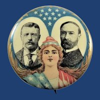 "1904 Roosevelt Fairbanks Jugate Lady Liberty Celluloid Political Campaign Pinback Button 1-1/4"""