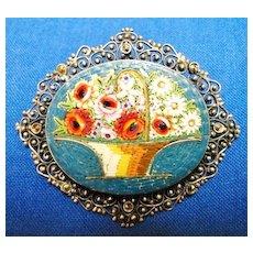 800 Silver Micro Mosaic & Marcasite Flower Basket Pin Brooch
