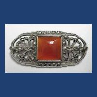 Vintage 1920's Art Deco Sterling Marcasite Carnelian Pin