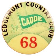 Original Ledgemont Country Club MA Caddie Badge #68