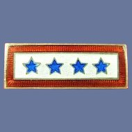 WWII American Homefront Rare 4-Star In Service Lapel Pin Sterling