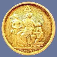 Masonic Silver & Gilt Duke of Sussex England Jewel Token Medallion ca. 1920's