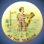 At The Seaside NJ Shore Related Maybe American Pepsin Gum Company Premium Celluloid Pinback Button ca. 1896-1900
