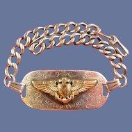 WWII US Marine Corps Flyer Pilot ID Bracelet Name & Number Balfour Sterling