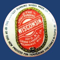 Wisconsin Cribb Carriage Co. Advertising Celluloid Compact ca. 1896 Very Unusual