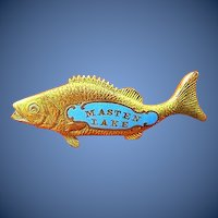 Masten Lake New York State Wurtsboro Fishing Bass Fish Shaped Souvenir Pin ca. 1930s-1940s